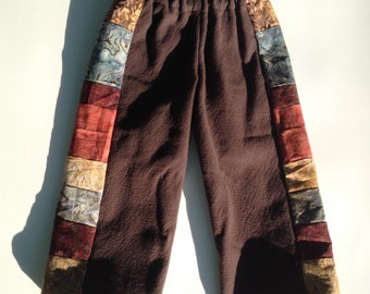 READY to SHIP...2T Pants for Boys or Girls...baby  toddler.. Indian Cotton with Batiks in Patchwork