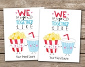 PRINTABLE - Kids Valentine Day Cards - Popcorn and Soda - We Go Together - 3.5 x 4.5 - Personalized