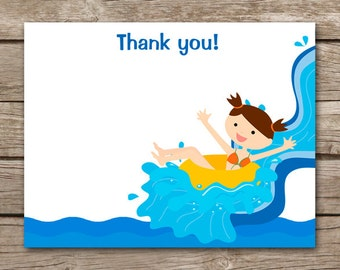 PRINTABLE Pool Party Thank You Cards, Waterpark Thank You, Waterslide Thank You, Swim Party Thank You, Beach Thank You
