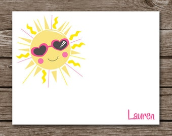Sun Note Cards, Sun Cards, Sun Stationery, Sunshine Cards, Personalized Cards, PRINTABLE