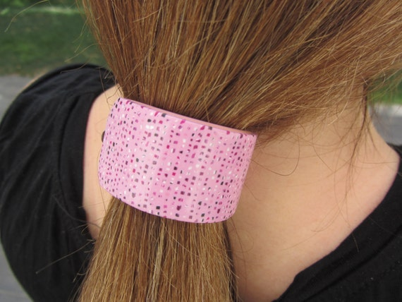Pink Flecks Tweed Polymer Clay Pony Tail Hair Barrette Millefiori