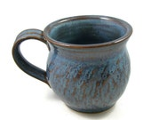 Blue Mug - Ready to Ship Today - 20 oz- 2 1/2 cups - Handmade Pottery Cup - Wheel Thrown Stoneware Clay