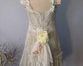 Knee length Lace Dress with Ruffle Hem
