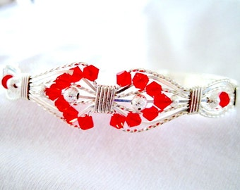 Large- Red Siam Swarovski Bicone Beads and Sterling Silver Wire Wrapped Bracelet