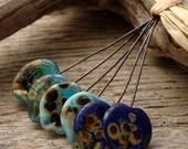 PETAL SHAPED PAIRS - Handmade Lampwork Head Pins - 6 Headpins