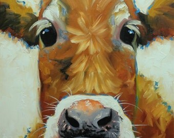 Cow painting 1103 20x20 inch animal original oil painting by Roz