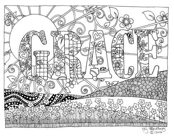 Coloring page hand drawn grace downloadable for Grace coloring page