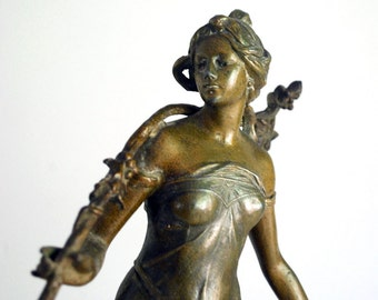 Art Nouveau Statue, Antique French Woman, Bronzed Spelter, L'Automne Autumn, 1900 Victorian Decor, Grape Harvest, Aged Patina Seasons