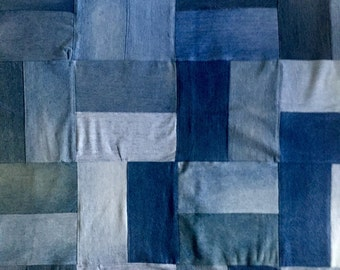 Quilt Throw Recycled Blue Jeans, Motorcycle Fleece OOAK