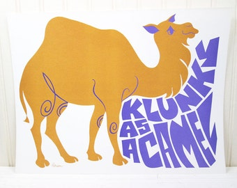 Vintage Children's School Poster Klunky As A Camel Mod Rhino Illustration Current Inc.