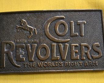 Vintage Colt Revolvers Brass Belt Buckle