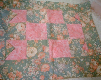 Pink roses patchwork chenille hand made throw lap quilt bath mat....