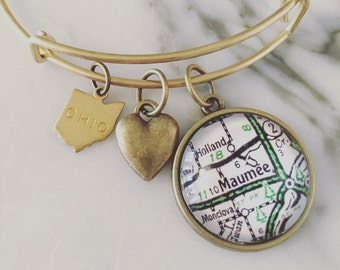 Maumee Map Charm Bangle Bracelet - Personalized Map Jewelry - Stacked Bangle - Ohio - Midwest - Bridesmaid Gift
