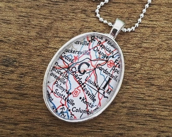 Charlottesville Map Necklace - Map Jewelry - Bridesmaid Gift - University of Virginia - Vintage Atlas Charm
