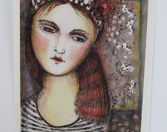 Mini Print  from mixed media modern folk art painting ethereal dream like woman girl ponies