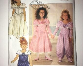 Uncut vintage Child's Dress and Jumpsuit pattern Butterick No. 5865 - Sizes 2, 3, 4