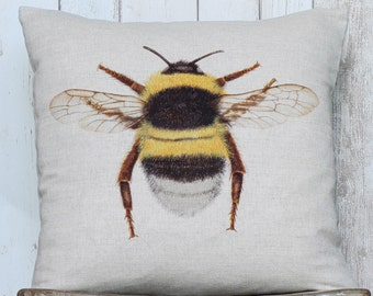 Bumble Bee Linen Pillow / Cushion Cover