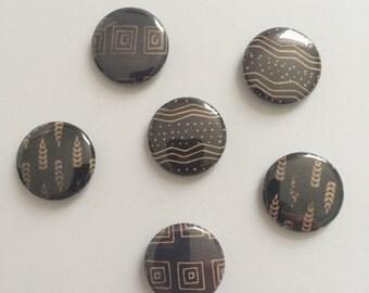 Pinback Buttons Brown & Tan Designs