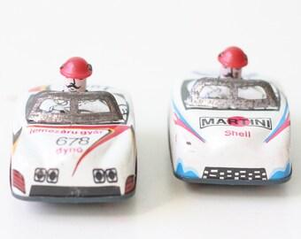 Vintage Tin Race Cars Dyno Lemezaru Gyar 678, and Martini Shell 88