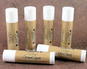 Lip Balm (.15oz tube) - Choose from over 50 flavors (vanilla, cherry, maple, apple, peppermint, horchata, lavender, honey, bubble gum, more)