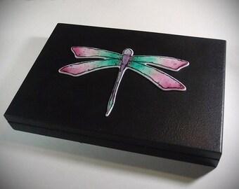 Dragonfly Keepsake Memory Box ~ Home Decor ~ Trinket Jewelry Box ~ Fused Glass and Wood