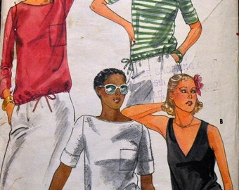 Vintage 1980's Sewing Pattern Butterick 5500 Misses' T-Shirts Bust 31 Inches