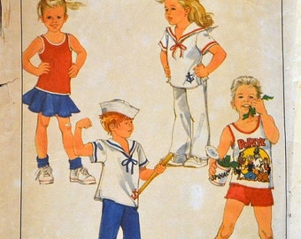 ON SALE Vintage 1988 Sewing Pattern Simplicity 8712 Popeye Shirts Pants Shorts Size 3 Breast 22 inches Complete