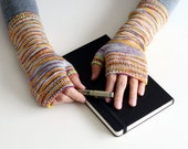 Fingerless Mittens Knitting Kit - Bodleian Fingerless Mitts - Hand Dyed Yarn and Knitting Pattern - Fingering Weight Hand Dyed Yarn