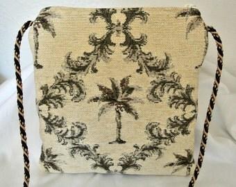 Palm Trees Cross Body Purse , Sling Crossbody Shoulder Bag , Tropical Handbag , Small Travel Pocketbook , Gift for Her Under 50