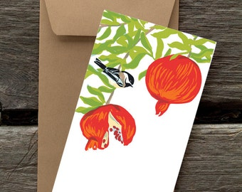 Pomegranate and Chickadee -- 8 blank flat cards and envelopes