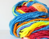 handspun art yarn, soft wool, knitting crochet scarf yarn, bulky yarn, chunky crochet yarn, bright rainbow .. sweetest 1
