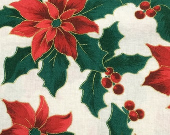 Christmas poinsettia fabric - 14 inches x 72 inches
