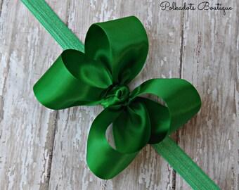 Boutique Emerald Green Satin Headband Big Bow Headband Emerald Green Baby Headband Toddler Headband Large Bow Headband Christmas Bow