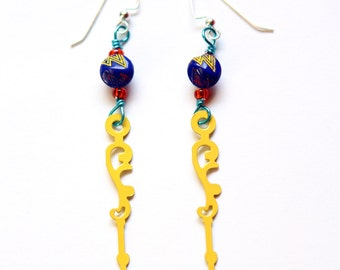 Boho Yellow Lightning Steampunk Clock Hand Earrings with Cobalt Buttons