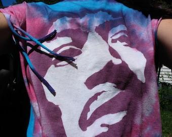 Jimi Hendrix Shirt Purple Haze Floating Psychedelic Purple fringe Double Ladder back T Shirt Tie Dye Size XL