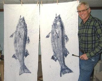 ORIGINAL Large 41 inch Deep Blue Striped Bass GYOTAKU fish rubbing wall art on Muslin Coastal New England Fish Art Beach House Decor