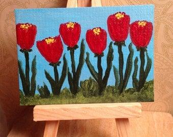 Flower Garden Art Card, Red Flower ACEO, Flower Garden Art, Original Painting ATC, Fantasy Garden Art, Floral ATC, Green Leaves, Blue Sky,