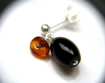 Amber Stud Earrings Sterling . Natural Amber Earrings . Stud Dangle Earrings Silver . Healing Amber Jewelry - Neolithic Collection