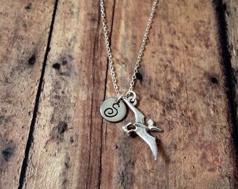 Pterodactyl initial necklace - pterodactyl jewelry, dinosaur necklace, paleontology necklace, science necklace, dinosaur jewelry