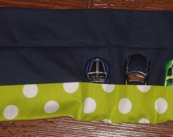 Lime green polka dot with navy car roll