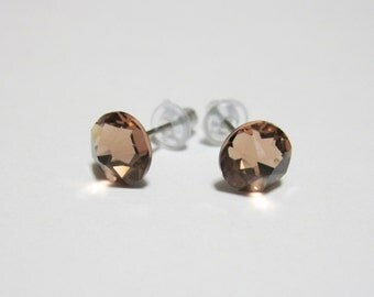 Blush Rose Crystal Post Style Earrings 7mm Hypo Allergenic Nickel Free