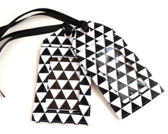 luggage tag  - triangle - wedding favor - corporate gift - place card holder - travel - travel gift - party favors - black and white