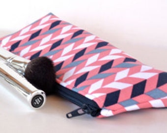 Slim Makeup Bag Brush Bag Pencil Pouch Small Zippered Padded Pouch Eco Friendly Coral Chevron