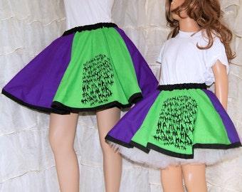 Joker Purple Green Ha Ha Ha Long Circle Skirt Adult ALL Sizes - MTCoffinz