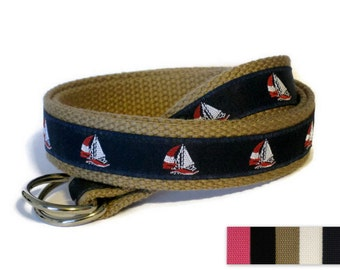 Canvas Belt / Sailboat Belt  / D-Ring Belt for boys girls babies  / Navy Ribbon Belt / Boat Belt / Khaki Belt- Sailboat in navy