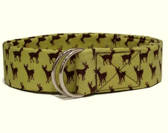Deer Belt / Womens Holiday Belt / Christmas Cloth Belt / Brown Deer D-Ring belt