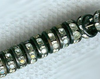 rhinestone rondelles czech crystal clear TEN 8mm crystal rondelles and contrasting black edge, very dramatic