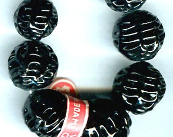vintage glass beads cherry brand ART GLASS black japanese glass FIVE spider web beads, most unsual