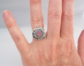 Watermelon Tourmaline Ring, Artisan Jewelry, Watermelon Tourmaline Slice, Tourmaline Crystal, Sterling Silver Ring Size 7