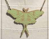 Luna Moth, maple wood Pendant or Brooch
